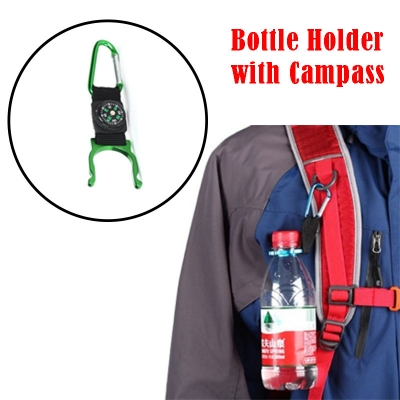 Mineral Water Bottle Hold Buckle with Campass for hiking and comping and climbing